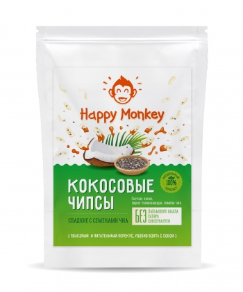 "Кокосовые чипсы ""Happy Monkey"" с семенами чиа"