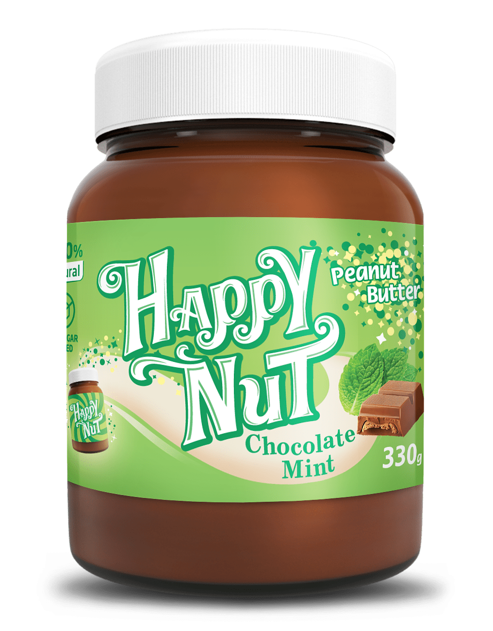 Арахисовая паста с шоколадом и мятой Happy Nut, 330гр