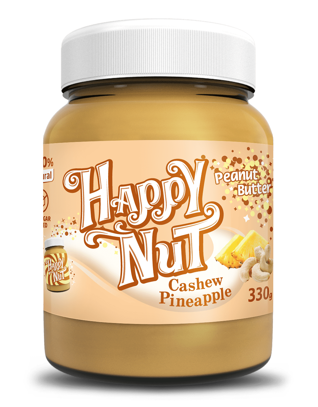 Арахисовая паста с кешью и ананасом Happy Nut, 330гр